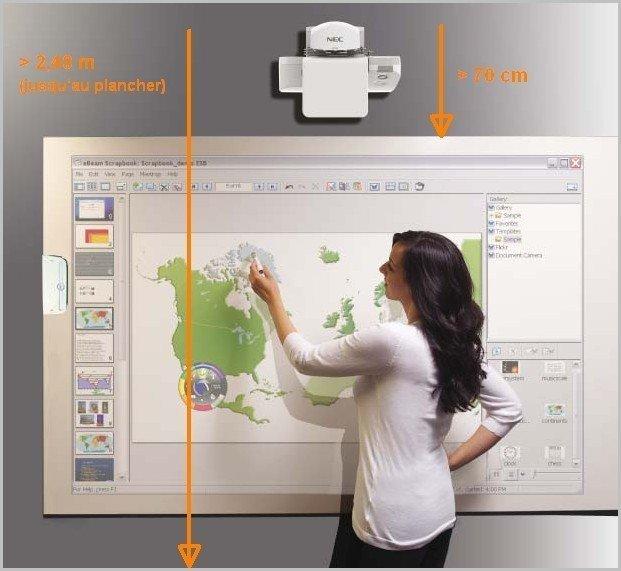 Le seul vid oprojecteur interactif ultra courte focale for A quelle hauteur fixer un tableau
