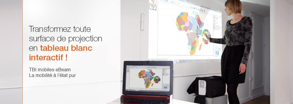 vidéoprojecteur interactif mobile : un videoprojecteur, un TBI eBeam et un ordinateur dans une mallette (VPI nomade)