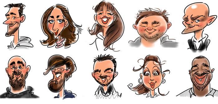 caricatures faites sur un Ecran Interactif