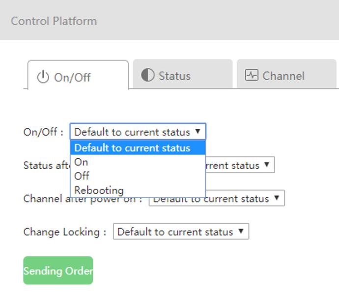 Menu ON-OFF Remote Service écran interactif tactile