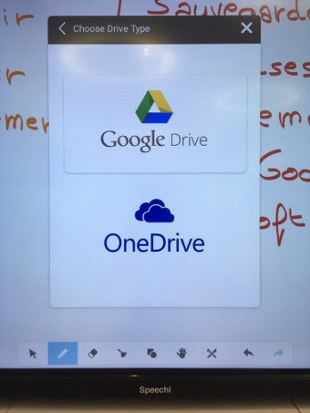 Accédez à Google Drive et Microsoft One Drive depuis nos écrans interactifs tactiles