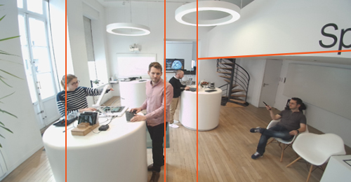 Fish eye distortion of the competitor's 4K ePTZ Speechi camera