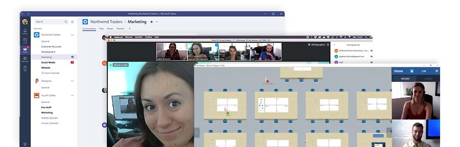 Les logiciels de visioconférence Tamashare, Microsoft Teams et Zoom
