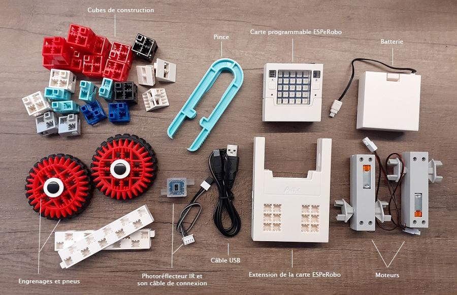 composition du kit robotique ESPeRobo - Python