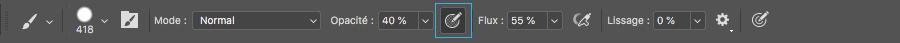 Utiliser la pression de l'écran capacitif SpeechiTouch pour modifier l'opacité d'un trait sur Photoshop