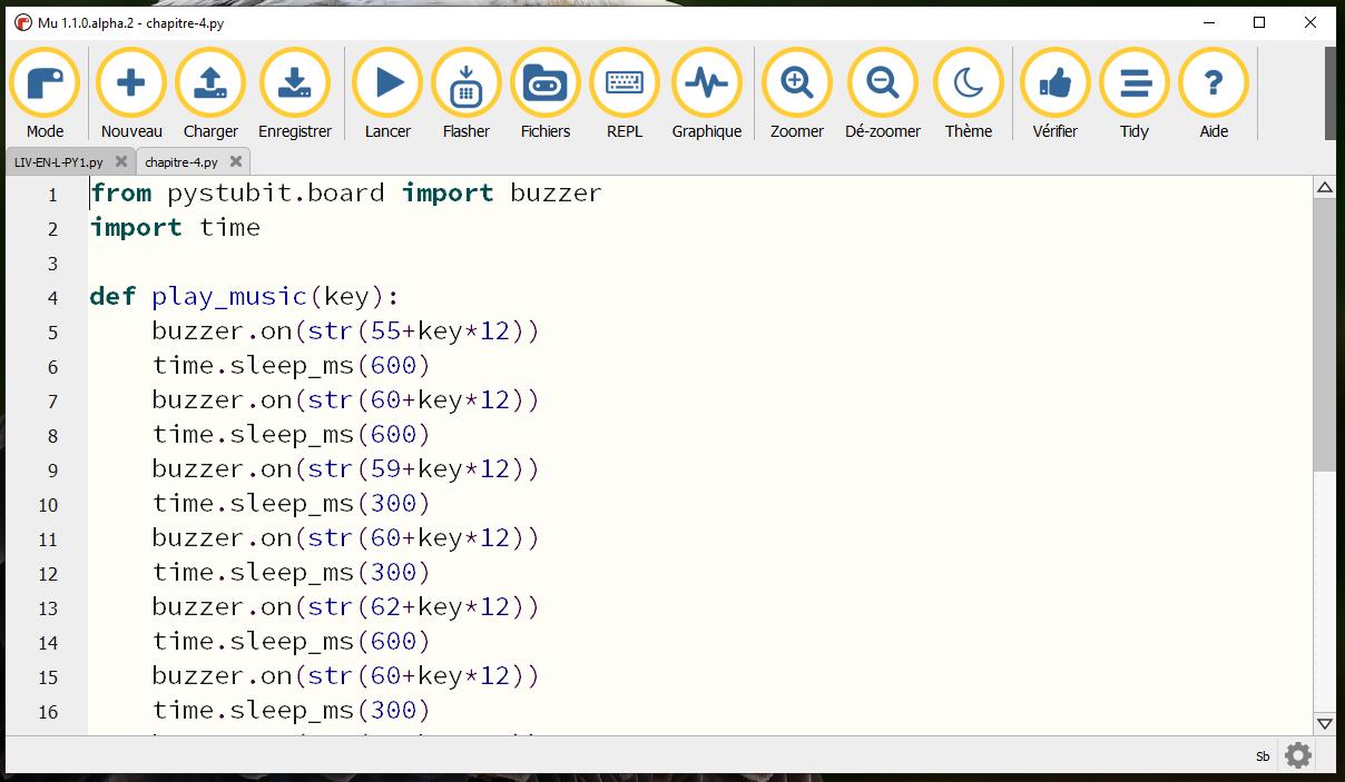 éditeur Mu pour programmer en Python avec la carte programmable ESPeRobo