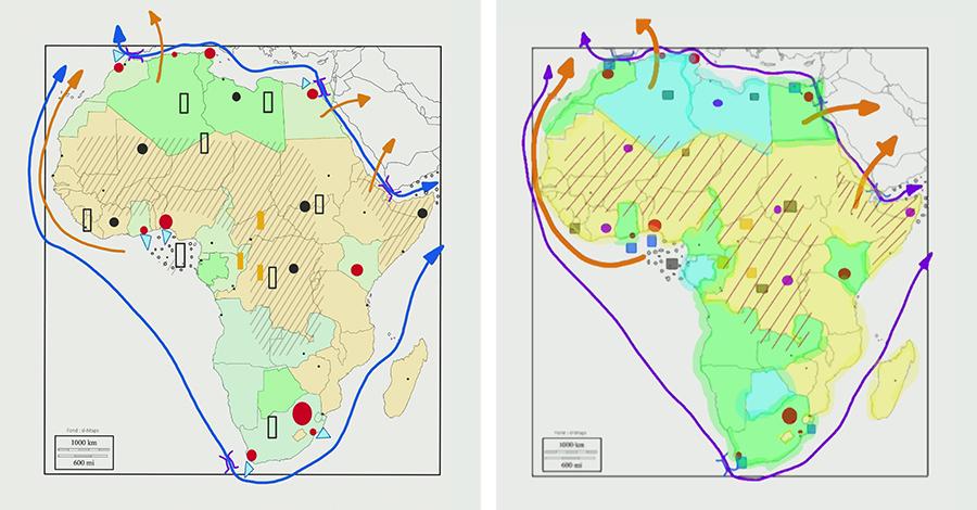Comparaison d'une carte de géographie réalisée avec l'écran interactif SuperGlass et un écran interactif infrarouge