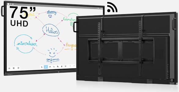 écran interactif classe hybride présentiel et à distance