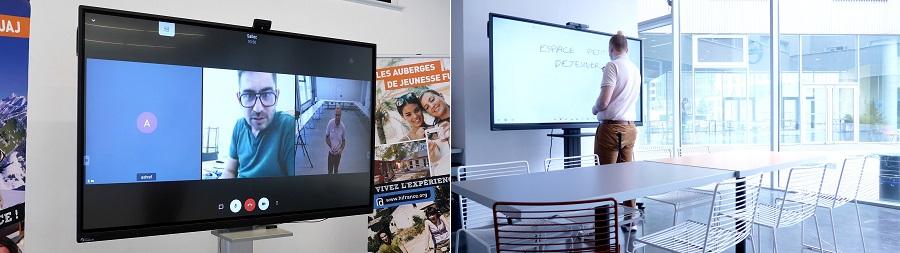 écran interactif et caméra de visioconférence pour réunion à distance et entretien d'embauche