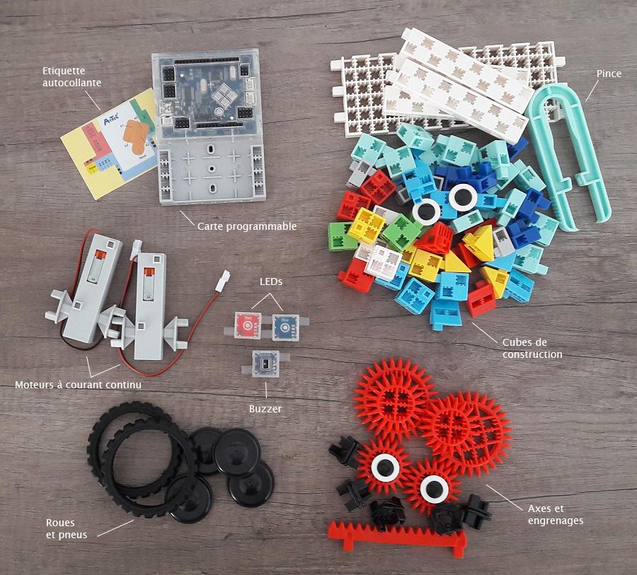 contenu de la mallette pédagogique d'initiation au codage ou kit robotique pour école primaire