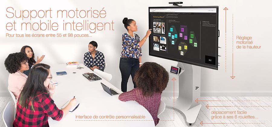support pour écran interactif intelligent et motorisé