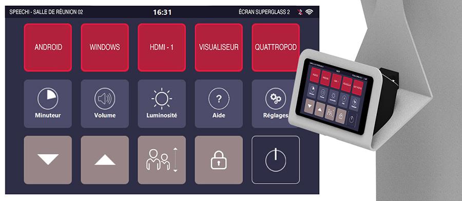 support pour écran interactf avec tablette tactile pour commander votre écran interactif et support